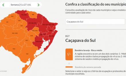 Caçapava do Sul retorna para bandeira laranja