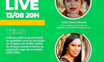 Live para falar sobre políticas públicas de promoção de igualdade racial em Caçapava