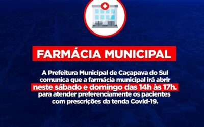 Farmácia Municipal abrirá no final de semana